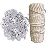 Phobis Candle Wick Thread Cotton roll 100 Gram with 100 Piece Wick sustainers for Candle Making