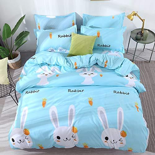 Chickwin Housses de Couettes 2 Personnes Enjoy Home Parure de Lit Home Housse de Couette + 2 Taies d'oreiller,Taille 140x200cm,200 x 200 m,240x220cm (240x220cm, Blue Rabbit)