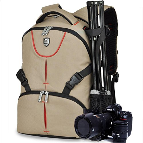 Zaino/Borsa 27x19x43cm Impermeabile e Durevole per Fotocamera DSLR e Mirrorless (Canon Nikon Sony Pentax Olympus Fujifilm Panasonic) , khaki