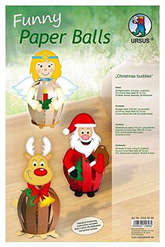 Ursus 23320099 Funny Paper Balls Christmas Buddies, 30 Papierstreifen, 210 g/qm, vorgelocht