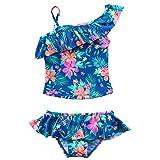 YiZYiF Mädchen Tankini Bikini Badeanzug Blumen Muster Top mit Slip Badeshorts Badekleidung Set Gr. 86-92 98-104 110-116 122-128 134-140 (92-98/2-3 Jahre, Marineblau)