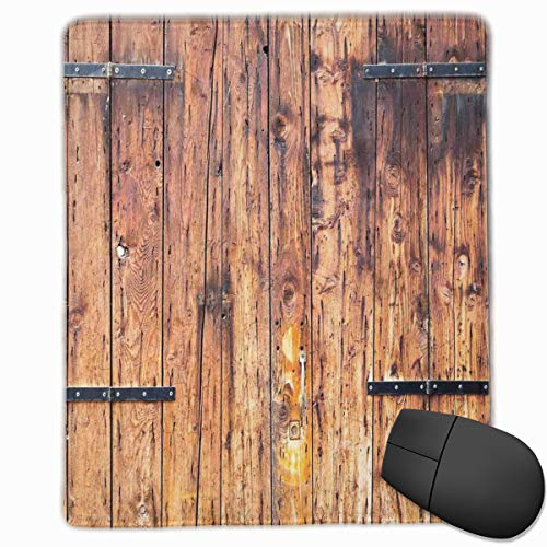 Mouse Mat Stitched Edges, Antique Timber Planks In Weathered Tones With Locks Vintage Style Country House Picture,Gaming Mouse Pad Non-Slip Rubber Base -