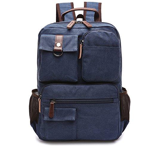 Gendi Vintage Canvas Rucksack Laptop-Rucksack Wandern Tasche Schultasche Dunkelblau