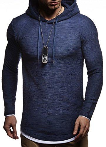 LEIF NELSON Herren Kapuzenpullover Slim Fit Baumwolle-Anteil   Moderner weißer Herren Hoodie-Sweatshirt-Pulli Langarm   Herren schwarzer Pullover-Shirt mit Kapuze   LN8120 Dunkel Blau Medium -