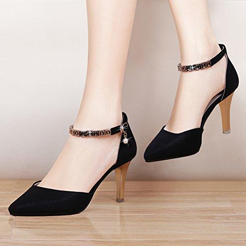 HGTYU-Sexy Coreani Sono Scarpe A Punta Con Un Bel Diamante Fibbia Superficiale Della Bocca Scarpe Col Tacco Alto 35 Thirty-six