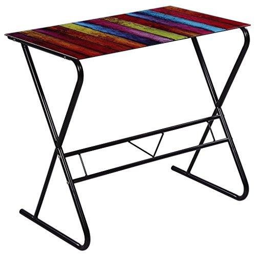 VidaXL Design Schreibtisch Computertisch Glas Tisch Brotisch Mit Regenbogenmuster Amazonde Baumarkt