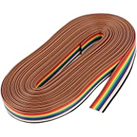 sourcingmap® Cable de alambre de la cinta 8M 10 Camino del arco iris plano del color del IDC