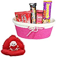 SFU E Com Valentines Day Chocolate Gift | Valentine's Day Gift Combo for Him, Her, Husband, Wife, Loved Ones, Girl Friend | Valentine Bear in Heart Teddy Bear | Valentine Chocolate Hamper | 1111