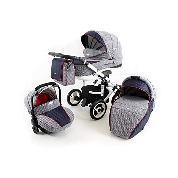 Lux4Kids Pram Stroller 3in1 2in1 Isofix Colour Selection Buggy Car seat Tor White Light Grey T-06 4in1 car seat +Isofix Lux4Kids Lux4Kids Tor 3in1 or 2in1 pushchair. You have the choice whether you need a car seat (baby seat certified according to ECE R 44/04 or not). Of course the car is robust, safe and durable Certificate EN 1888:2004, you can also choose our Tor with Isofix. The baby bath has not only ventilation windows for the summer but also a weather footmuff and a lockable rocker function. The push handle adapts to your size and not vice versa, the entire frame is made of a special aluminium alloy with a patented folding mechanism. 2