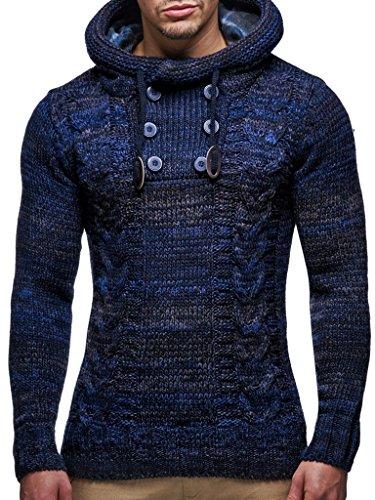 LEIF NELSON Herren Pullover Hoodie Kapuzenpullover Strickpullover Longsleeve Sweater Sweatshirt Pulli LN20227; Größe 4XL, Dunkel Blau