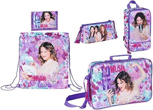 Disney Violetta Schultasche, Turnbeutel, Schuhtasche, Federmäppchen und Geldbörse, lila (Turnbeutel Geldbörse)