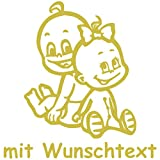 Babyaufkleber Autoaufkleber für Geschwister mit Wunschtext - Motiv G4-JM (16 cm)