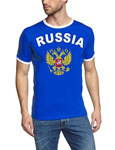 Coole-Fun-T-Shirts Russland Russia T-Shirt Ringer Blau, Gr.M