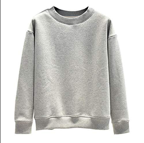 Akquama felpe con cappuccio 3d-pullover inverno più maglione di velluto femminile agnello cachemire caldo studente spesso sciolto girocollo pullover cotone cappotto corto, m, grigio chiaro