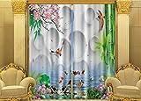H&M Gardinen Vorhang Bambus Fisch ein Schatten Tuch UV warmen dekoriert Schlafzimmerfenster Vorhangstoff fertigen 3D-Druck , wide 2.64x high 2.13