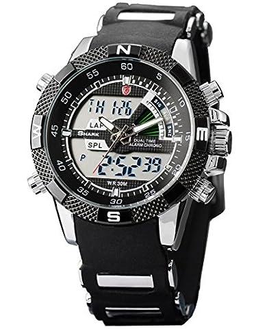Shark Mens Alarm Chronograph Black Army Military Sport Wrist Watch + Box SH042