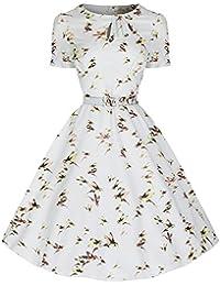 Lindy Bop Damen Kleid Weiß Weiß