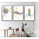 xwlljkcz 3 pièces peintures de Style Nordique peintes sur Toile Oiseaux Love Cartoon Salle de séjour Salon décoration Murale Art 40x60cm sans Cadre