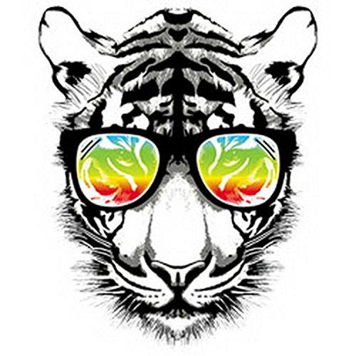 TIGER FunTop - Retro Tiger - Modern Art Cat mit US-Motiv Weiß