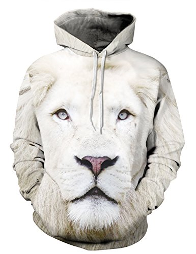 KamiraCoco Herren Kapuzenpullover 3D Druck Muster Hoodie Weihnachten Halloween Sweatshirt Pullover Weißer Löwe