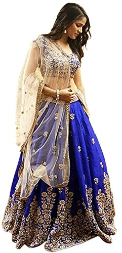 Surti Funda Women\'s Silk Long Cholis Lehenga Choli (surtii_blue_Free Size)