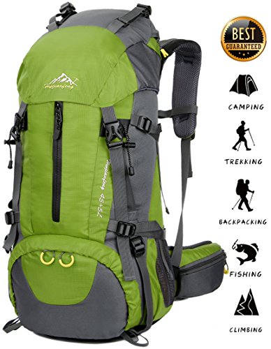 Imagen de 45l+5l  de senderismo impermeable con cubierta lluvia paquete del alpinismo escalada trekking camping deporte al aire libre verde, l