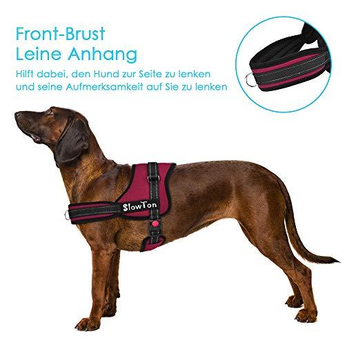 SlowTon No-Pull-Hundegeschirr Einstellbar Weich Brustgeschirr, Atmungsaktives Hundegeschirr, Brustgeschirr Denim & Nylon Hundeleine Einfaches an- und Ausziehen mit Großer Schnalle für Große Hunde