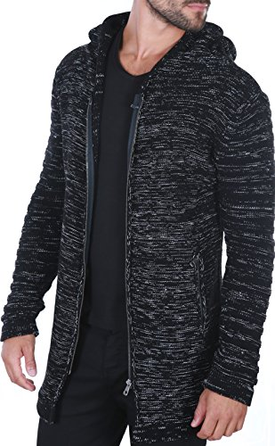Karl's People People Herren Strickjacke mit Kapuze K-115 XL Black