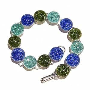 Bracelet - Verre Dichroique Vert Olive, Bleu et Aqua 19cm