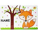 Frühstücksbrettchen - ' Fuchs & Eule ' - incl. Name - aus Melamin - auch als Schneidebrett / Tischunterlage / Platzdeckchen / Frühstücksbrett / Eßunterlage - mit Eulen Tiere - Schneidebrettchen - Frühstück Schneideunterlage