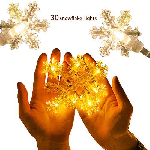 10 ft 30 led battery powered snowflake string light luci decorative bianco caldo luci natalizie per natale, anno nuovo, matrimonio, bar, caffè, piscina, casa, esterno ed interno