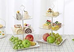 Idea Regalo - UHMei Alzata per torte a 3ripiani, quadrata, in plastica a imitazione di ceramica–Centrotavola per matrimoni, ora del tè, cene e feste di compleanno ( 2 set)