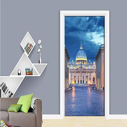 Bella architettura romana castello foto porta adesivo pvc carta da parati autoadesiva per soggiorno camera da letto porta home decor murale 95 * 215 centimetri