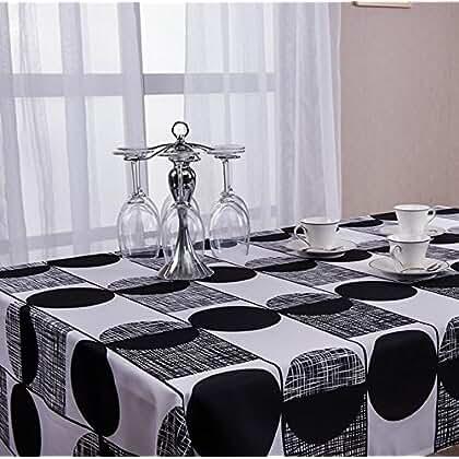 Polyester Tischdecke Schwarz Und Weiß Geometrisch Eindruck Tischdecke