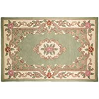 Large Traditional Original Classic Aubusson Floral 100% lana trapuntato a mano cinese, tappeto verde -150x 240cm