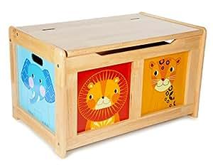 Tidlo : coffre à jouets en bois : animaux de la jungle