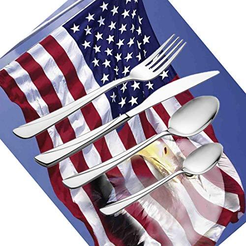 30-teiliges Besteckset, Besteckset für Besteck mit Besteck aus rostfreiem Stahl für 6 Personen, einschließlich Messer, Gabeln, Löffel, Teelöffel und Platzdeckchen. Segne die amerikanische Flagge im Wi -