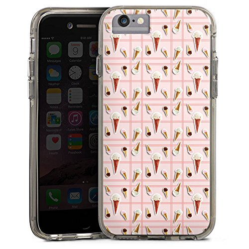 Apple iPhone 6s Bumper Hülle Bumper Case Glitzer Hülle Ice Cream Eis Creme Sommer Bumper Case transparent grau