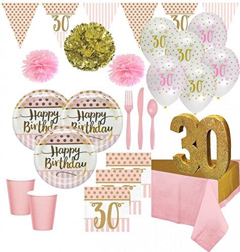 KPW XXL 73 Teile Deluxe Pink Chic Party Deko Set zum 30. Geburtstag in Rosa und Gold Glanz für 8 Personen (Metallic-rosa Poms Pom)