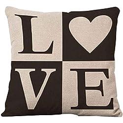 Carta de amor Impreso Funda de almohada cama sofá Square Throw Cojín Decoración, Lino, 1, # 1