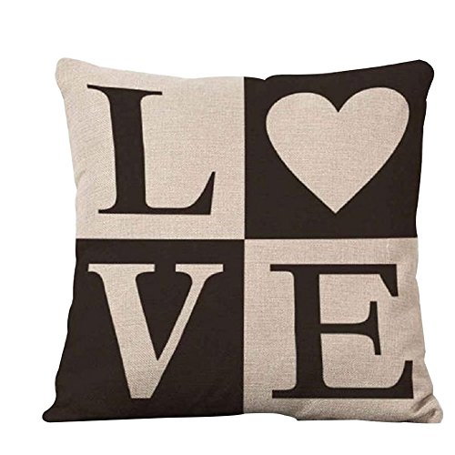 Carta de amor Impreso Funda de almohada cama sofá Square Throw Cojín Decoración, Lino, 1, # 1