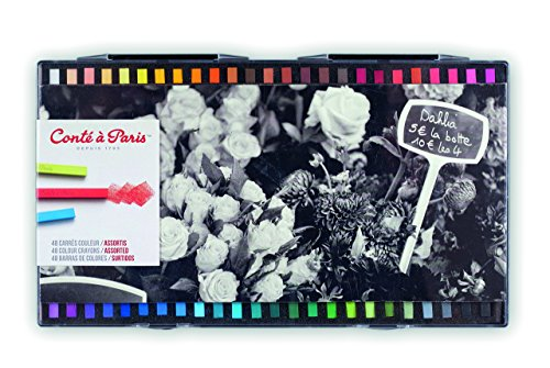 Conté a Paris 50134, 48 farbige Carré Kreiden, Pastellkreiden in Vierkantform, 48 Farben