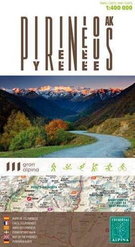 Pirineos, mapa de carreteras. Escala 1:4000.000. Editorial Alpina. por VV.AA.