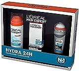 L'B Loreal Men Expert 3 stk. Sensitiv Geschenk Set - Politur Kennzeichnung Hydra 24 (Feuchtigkeits,Rasiergel,Roll-on)