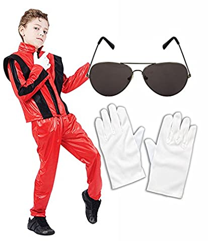 Boys Michael Jackson 80S Fancy Dress Costume With Glasses & Gloves Age 10-12