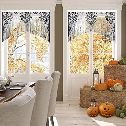 outgeek Halloween Vorhänge, Spitze Spinnennetz Schädel Vorhang Abdeckung Fenster Vorhang Valance mit Quaste für Halloween Dekorationen 38