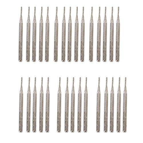 BQLZR Silber 3mm Schaft 1mm Rund Punkt Diamantbohrer Glas-Bohrer f¨¹r die Gravur Rotary Tools Pack von 30