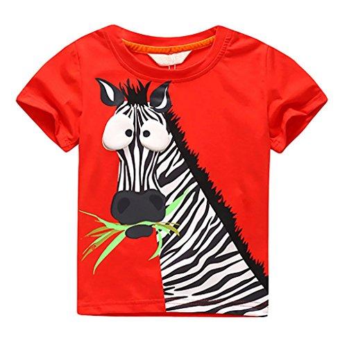 SHOBDW Boys Tops, Infant Kids Big Baby Fashion Cartoon Zebra Printing Short Sleeve T-Shirt Blouse Outfits Summer Clothes