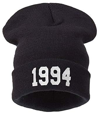 Men's Women's Beanie Hat Winter Warm Black Bad Hair Day Fun oversized hat (1994 black white)
