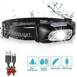 Cocoda Lampe Frontale, Headlamp USB Rechargeable Puissante - 160 LM, Détecteur de Mouvement, IPX6 Étanche, 4 Modes d'Éclairage, Angle et Sangle Réglable, Accessoires pour Camping Randonnée Bricolage